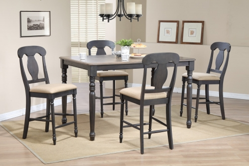 Iconic Furniture RT78 Grey Stone/ Black Stone Napoleon Back Counter Height Dining Set