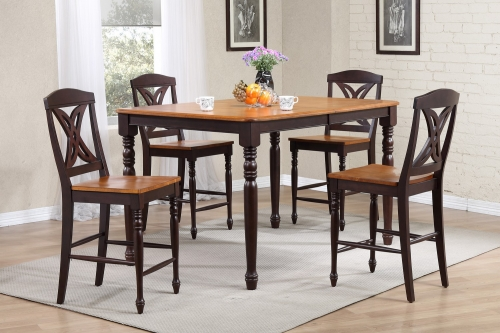 RT78 Whiskey/Mocha Butterfly Back Counter Height Dining Set