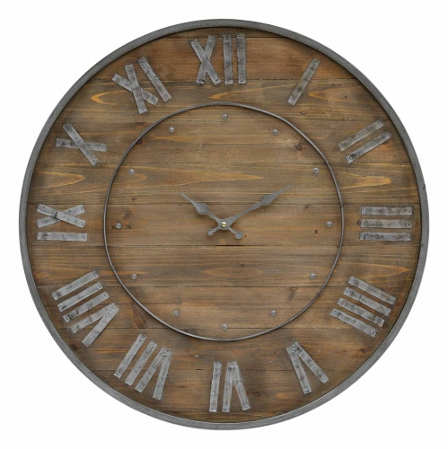 Teatime Clock - Natural wood/Grey