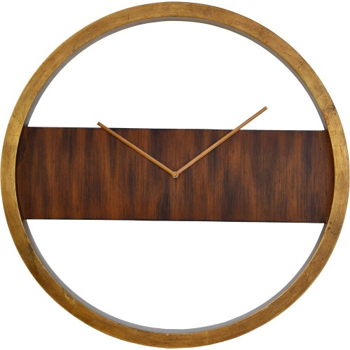 Boyd Wall Clock - Handpainted Gold/Walnut/Antique Brass