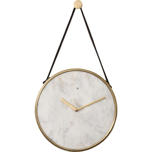 Livenna Wall Clock - White Marble/Antique Brass/Tan Leather