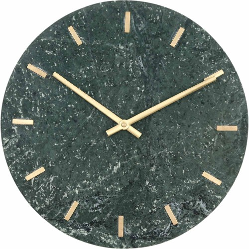 Darrow Wall Clock - Green Marble/Antique Brass