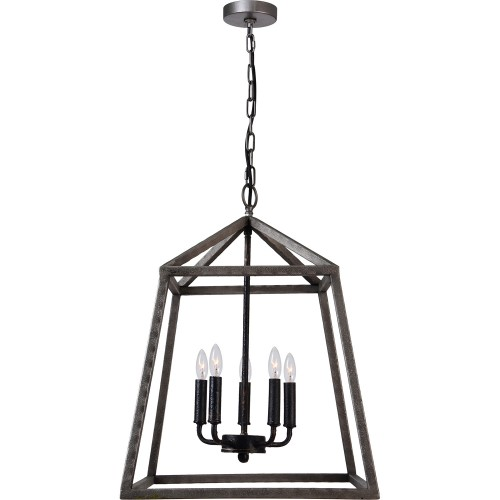 Mandell Ceiling Fixture - Raw Hammered Metal/Matte Black
