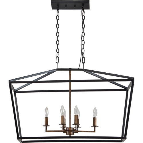 Tonia Ceiling Fixture - Matte Black/Wood