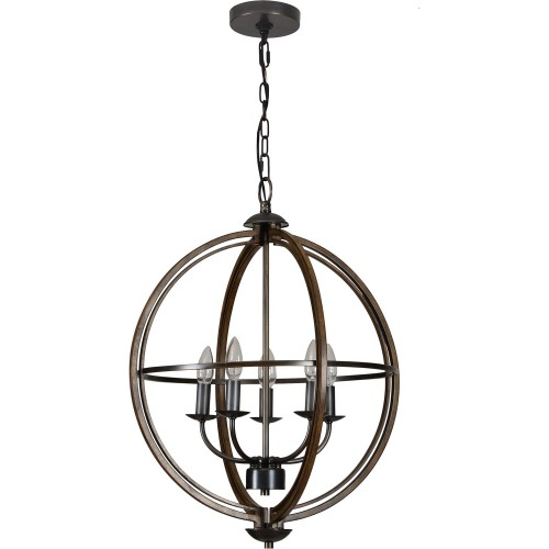 Sajo Ceiling Fixture - Oil Rubbed Bronze/Wood