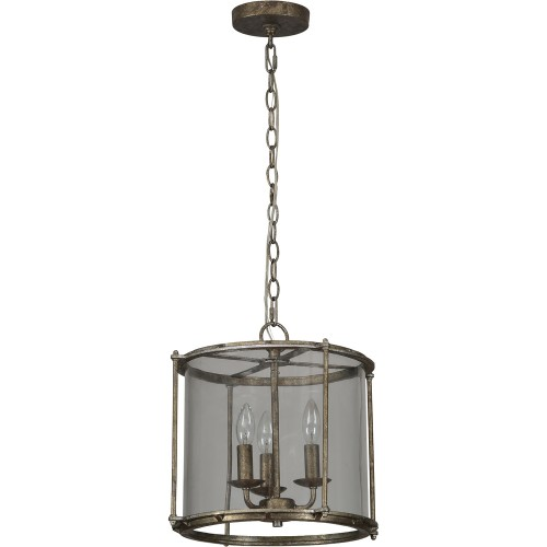 Browning Ceiling Fixture - Rustic Silver/Clear
