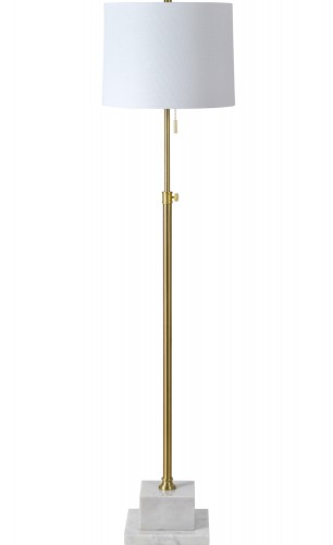 Sueman Floor Lamp - Polished Brass/White Marble