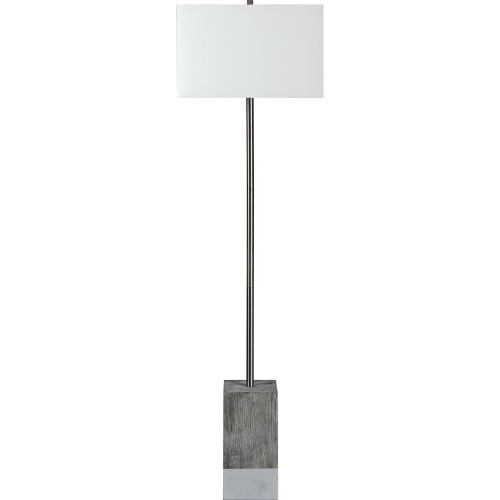 Steward Floor Lamp - Satin Nickel/White Marble/White Wash
