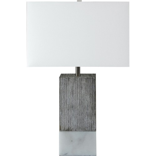 Val Table Lamp - White Marble/White Wash