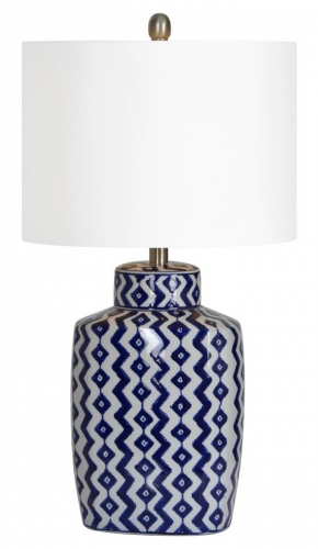 Beryl Table Lamp - Blue/White shevron pattern