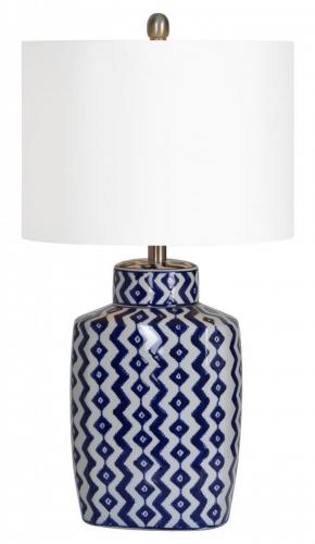 Beryl Table Lamp - Blue/White shevron pattern