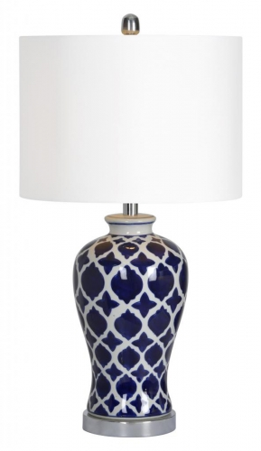 Indigo Table Lamp - Blue/White morrocan pattern
