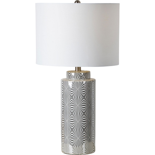 Camden Table Lamp - Silver/White