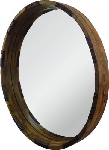 Industria Mirror - Natural wood/Distressed Black metal