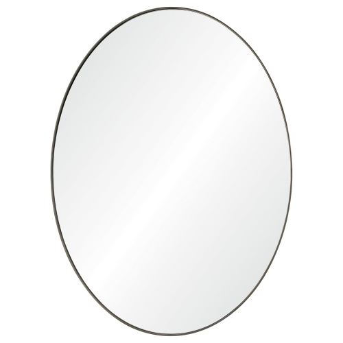 Newport Oval Mirror - Antique Brushed Silver