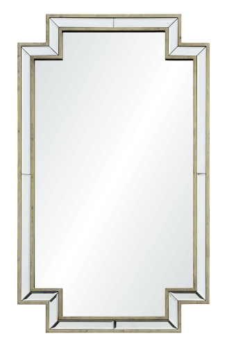Raton Rectangular Mirror - Antique Champagne Silver