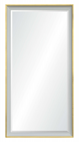 Dixie Rectangular Mirror - White Paint With Gold Leaf