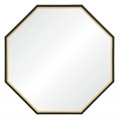 Octo Octagon Mirror - Black Painted And Gold Leaf