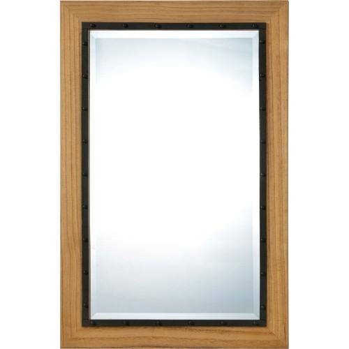 Spade Rectangle Mirror - Black/Natrual Wood