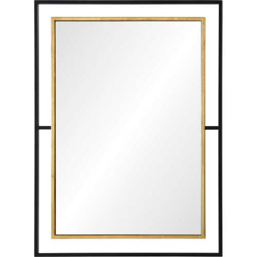Gray Rectangle Mirror - Black/Antique Gold