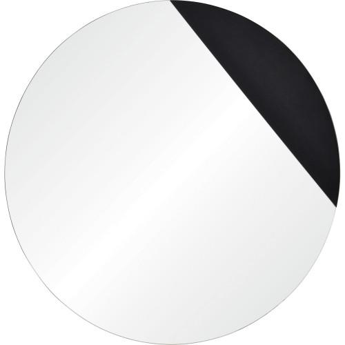 Aver Round Mirror - Black Veneer