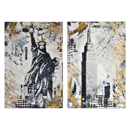 Gotham Canvas Painting - Yellow/Blue Texture