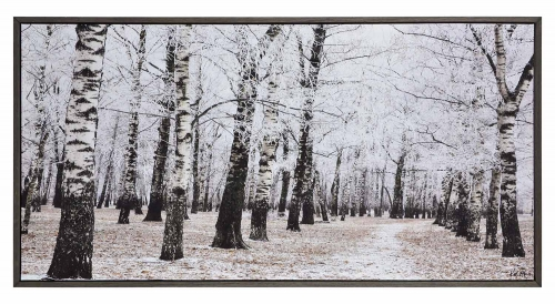 Woodland Canvas Painting - Charcoal Grey