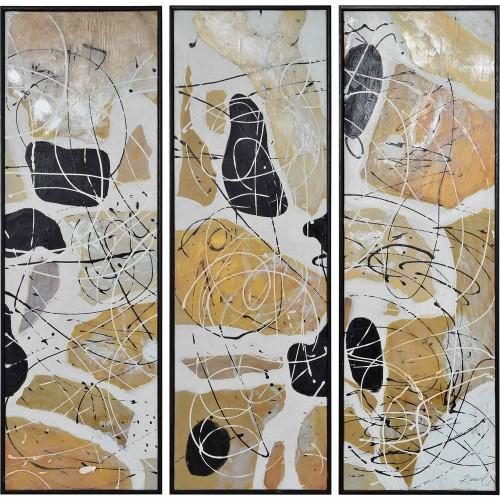 Eldridge Canvas Art - Black Wood Grain