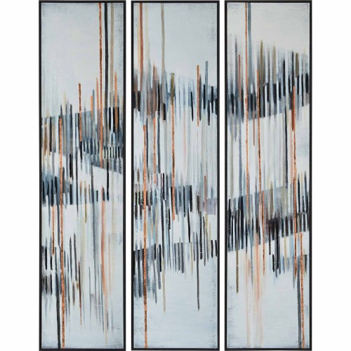 Yvon Canvas Art - Copper Leaf Accent/Dark Brown