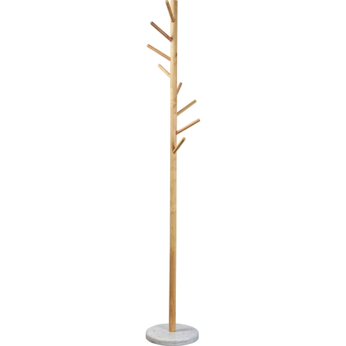 Kiel Coat Rack - Natural wood/White marble
