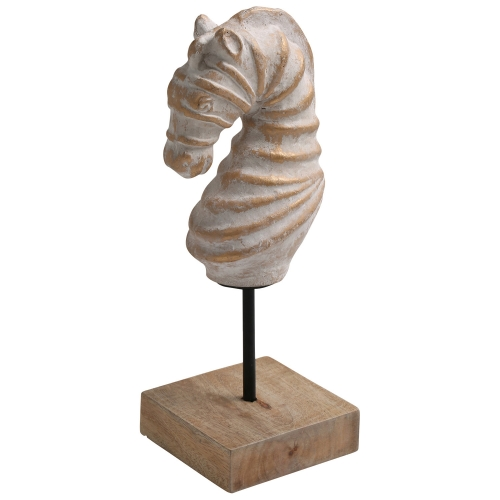 Seahorse Statue - Gold Distress