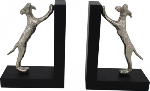 Canis Bookends - Silver/Black