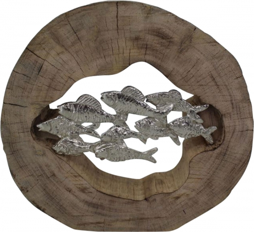 Pesce Sculpture - Silver/Brown