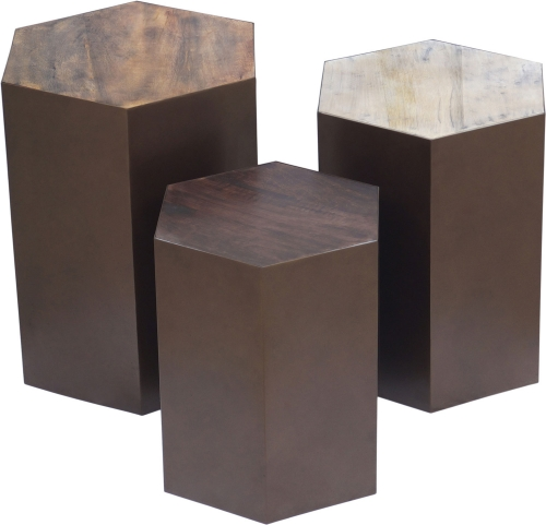 Giant's Causeway Accent Table - White/Medium Brown