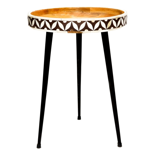 Derby Accent table - Natural Wood/Black Metal