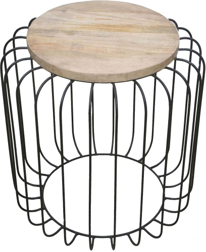 Bronson Accent Table Stool - Natural/Black