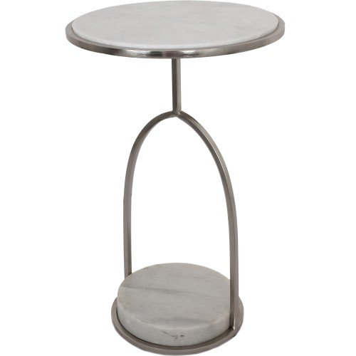 Hadley Accent Table - White Marble/Nickel