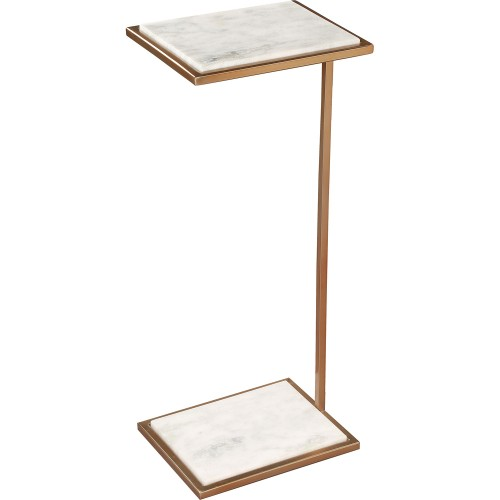 Delma Accent Table - White Marble/Brass