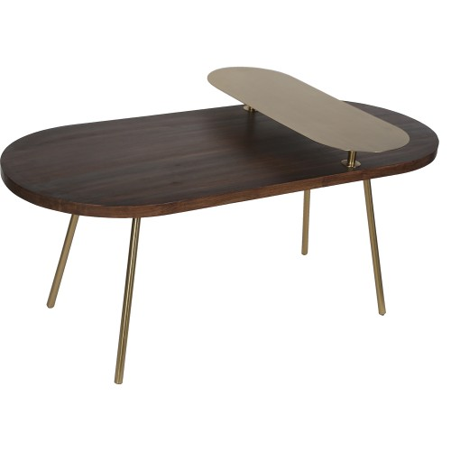 Zana Accent Table - Gold Leg/Dark Wood Top