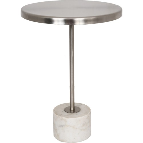 Birley Accent Table - Pewter Top/White Marble Base