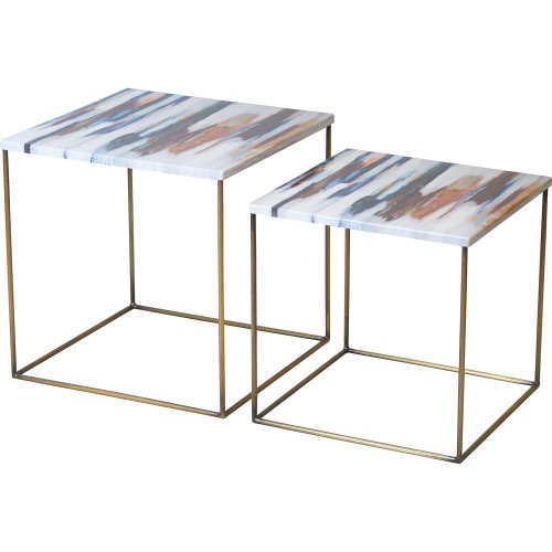 Philo Accent Table - Brass Antique/Decal Top