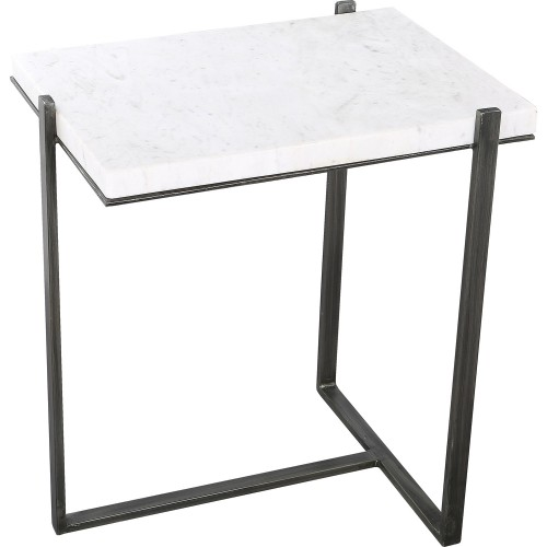 Hyder Outdoor Accent Table - White Marble/Brush Gray