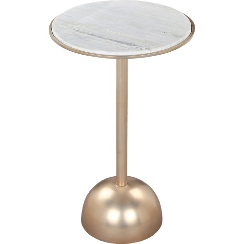 Jedrek Outdoor Accent Table - White Marble/Brass