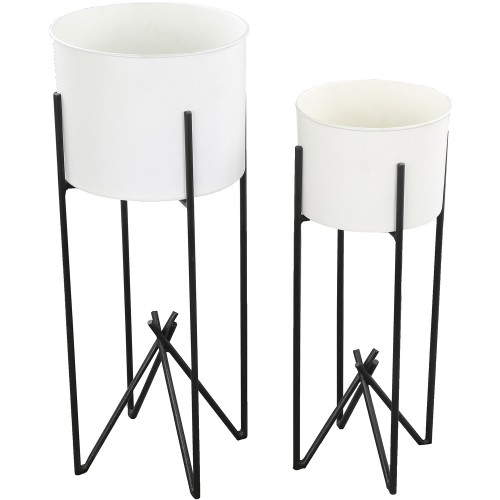 Tamma Outdoor Vase - White/Black Powder Coated