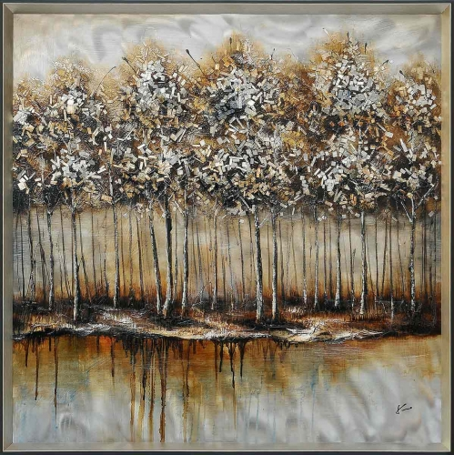 Metallic Forest Framed Painting