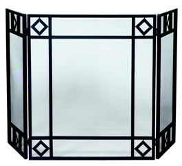 3 Fold Black Wrought Iron Screen With Diamond Design-Uniflame