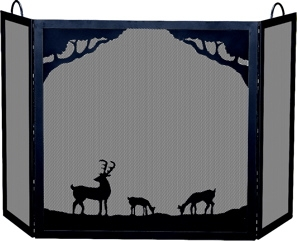 Deluxe 3-panel Black W.i. Screen With Deer In Forest Scene-Uniflame