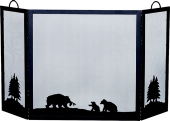 Deluxe 3-panel Black W.i. Screen With Hunting Bear Scene-Uniflame
