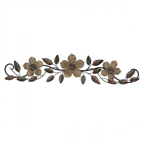 Floral Patterned Wood Over the Door Wall Decor - Multi