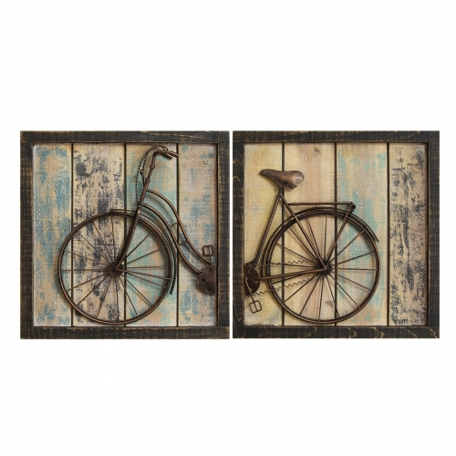 Set of 2 Rustic Bicycle Wall Decor - Multi
